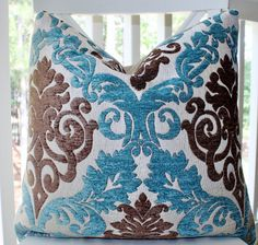 Decorative Pillow Cover - Blue Brown Silver Paisley Damask Textured Pillow Cover - Peacock Blue Throw Pillow on Etsy, $44.00