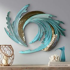 Modern and abstract, this gorgeous metal wall art sculpture shows the tumultuous beauty of sea and sand tumbling together with the tides. wide x high x deep. Hand-made metal wall art. Style # at Lamps Plus. Abstract Metal Wall Art, Metal Sculpture Wall Art, Metal Tree Wall Art, Metal Wall Decor, Abstract Sculpture, Metal Sculptures, Sand Sculpture, Sculpture Ideas, Bronze Sculpture
