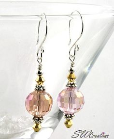 Shimmering Gold Peach Crystal Earrings