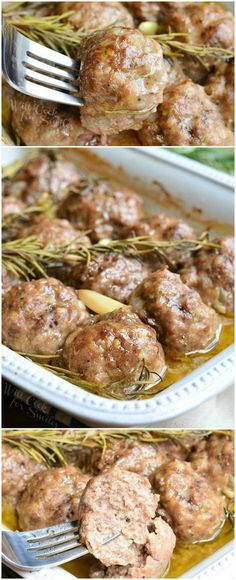 Roasted Garlic Rosemary Baked Meatballs (replace bread crumbs with parmesan to make it low in carbs)| from willcookforsmiles.com