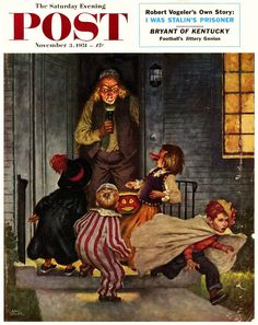 Tricking Trick-or-Treaters by Amos Sewell, November 3, 1951, Saturday Evening Post