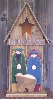 Folk Art Nativity - Behold The King Christmas Nativity Set, Nativity Ornaments, Nativity Crafts, Christmas Wood, Outdoor Christmas, Christmas Projects, All Things Christmas, Holiday Crafts, Christmas Time