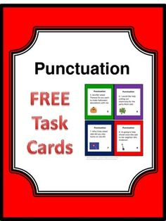 Free Task Cards- Punctuation-- English Language Arts, Grammar, Writing 3rd, 4th, 5th, 6th, Homeschool PowerPoint Presentations, Activities, Task Cards  Free Downloads for work with punctuation and other Language Arts skills are available at my store. On each card there is a sentence with no punctuation marks. Students are to write the sentences correctly on the provided response form. An answer key is given..