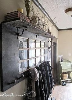 Best Pinterest Pics: Old Style! Multi pane door with mirror, shelf, and railroad spikes.