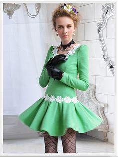 Morpheus Boutique  - Green Floral Bow V Neck Holiday Long Sleeve Shoulder Pleated Dress