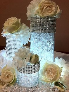 Glitz, glamour and of course rhinestones set the tone for a Hollywood Regency or Old Hollywood style wedding or bridal shower.  Follow the link to find submersible blue vase lights and other DIY items and ideas! by Heather Parrott