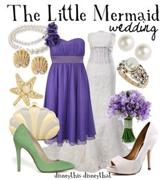 Little Mermaid wedding outfit! I really like the purple dresses but not the green shoes