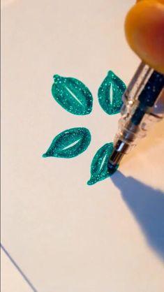 How To Draw Plant&leaf - Bold Line Glitter Gel Pen Doodles easy Bullet Journal Art, Bullet Journal Ideas Pages, Bullet Journal Inspiration, Pencil Art Drawings, Art Drawings Sketches, Easy Drawings, Drawing With Pen, Drawing Tips, Gel Pen Art