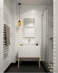 Scandinavian Bathroom Design and Decor Ideas - Bathroom - Bathroom Decor Small Bathroom Tiles, Bathroom Flooring, Bathroom Storage, Bathroom Wall, Small Bathtub, Small Sink, Bathroom Black, Bathroom Styling, Kitchen Tiles