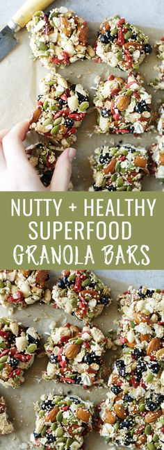 Hearty & healthy nutty superfood granola bars. Made with wholesome ingredients that make the best grab & go breakfast or snack. Nutritionalfoodie.com