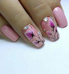Pink Acrylic Nails, Pink Acrylics, Acrylic Nail Art, Purple Nails, Nail Drawing, Flower Nail Art, Nail Designs, Elegant, Inspiration