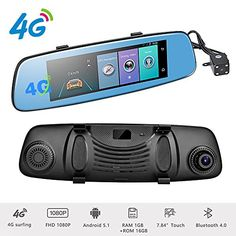 Podofo 4G Car DVR Backup Camera 7.84″ Android 5.1 Touch Screen ADAS Remote Monitor Rear View Mirror Monitor 1080P Dual Lens Wifi Dashcam GPS Navigation Vehicle Video Recorder