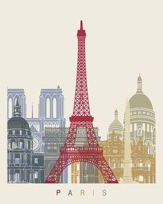 Affiche de skyline Paris Fine Art Print Glicée affiche Decor