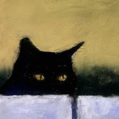 Black Cat Print Cat Art from a painting by AlisaPaints