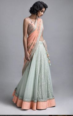 Indian fashion has changed with each passing era. The Indian fashion industry is rising by leaps and bounds, and every month one witnesses some new trend o Indian Wedding Outfits, Indian Outfits, Indian Clothes, Indian Attire, Indian Wear, Indian Style, Blue Lehenga, Lengha Saree, Lehnga Dress