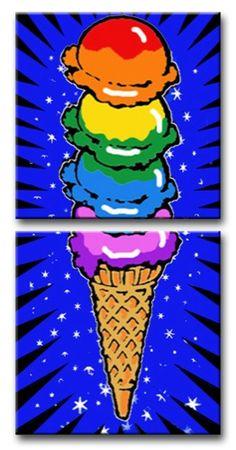 Ice Cream Cone on two panels pop art / Burton Morris Burton Morris, Montreux Jazz Festival, Pop Art Images, Color Secundario, Pop Art Movement, Art Lessons Elementary, Middle School Art, Collaborative Art, Arte Pop