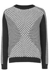 Monochrome Geometric Patterned Sweater
