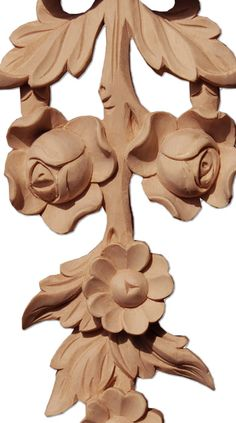 richland floral drop wood carving is hand carved from premium selected white hardwood