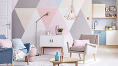 Retro Home Decor Bedroom Wall, Bedroom Decor, Zen Interiors, Pastel Interior, Retro Home Decor, Pastel Home Decor, Interior Design Inspiration, Wall Colors, Wall Design