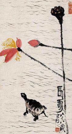 齊白石 - 龜壽圖                                      Painted by the contemporary artist Qi Baishi 齊白石.