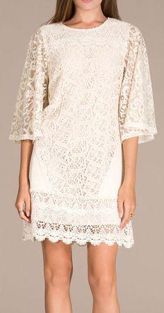 Champagne & Strawberry Vintage Ivory Lace Shift Dress
