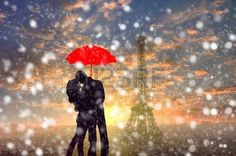 -silhouette-of-couple-standing-in-the-snow-storm-under-red-umbrella-with-eiffel-tower-in-paris--france