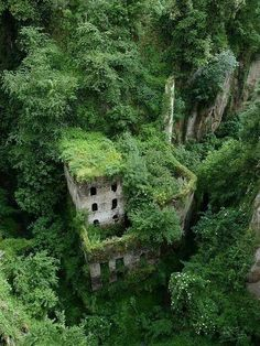 Vallone dei Mulini, near Sorrento Italy. Abandoned building that nature reclaimed.