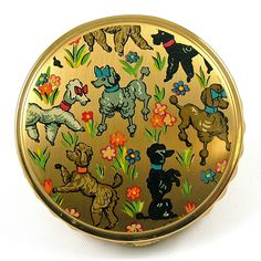 Vintage Powder Compact - French Poodle Design -  circa 1940s - 50s         £58.00 SOLD www.thepinkmonkeycompany.co.uk