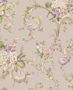 Arlington Light Taupe Floral Scroll Wallpaper York Wallcoverings Wallpaper Wall Decor Home Wallpaper Stores, Paper Wallpaper, Wall Wallpaper, Tapestry Wallpaper, French Wallpaper, Wallpaper Ideas, Mackenzie Childs Furniture, Wallpaper Warehouse, Acanthus