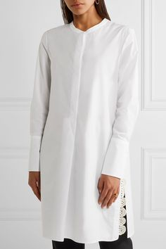 White cotton-poplin and crochet Concealed button fastenings along front 100% cotton Machine wash