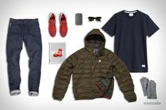 Best Made Co. Down Pullover ($248). Norse Projects Niels Basic Tee ($55). Raleigh Denim Martin Jeans ($285). Ray-Ban Meteor Sunglasses ($145). Nike Archive 83.M Sneakers ($110). Hefstra Sheepskin Glove ($180). Made Quarterly ($25). Makr Phone Sleeve ($105)....