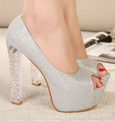 Women Sandal Dress Shoes 2014 Sexy Black Silver Peep Toe Platform Thick High Heels Prom Evening Shoes Wedding Shoes e33a56(China (Mainland)) #prom heels