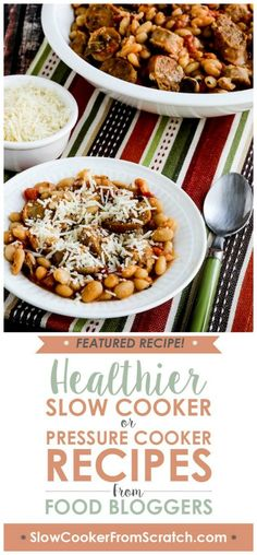 Italian Sausage and White Beans with Sage from Kalyn's Kitchen can be made in the Instant Pot or Slow Cooker, and this is a delicious rustic dish with authentic Italian flavors. For a more carb-conscious version, double the sausage and cut the beans in half! [found on Slow Cooker or Pressure Cooker at SlowCookerFromScratch.com] #ItalianSausageWhiteBeans #InstantPotItalianSausageWhiteBeans #SlowCookerItalianSausageWhiteBeans