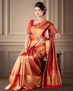 You can never go wrong with Sarees. South Indian Bride Saree, Kerala Wedding Saree, Indian Bridal Sarees, Wedding Silk Saree, Indian Silk Sarees, Indian Bridal Fashion, Indian Bridal Wear, Indian Wedding Outfits, Indian Beauty Saree