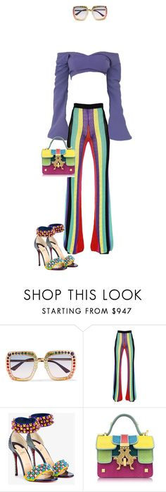 """""""Taste The Rainbow 🌈😋"""" by thecasegirl ❤ liked on Polyvore featuring Gucci, Balmain, Christian Louboutin and Giancarlo Petriglia"""