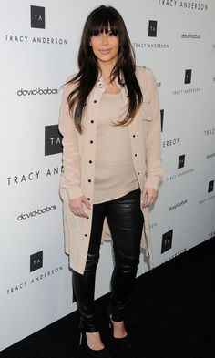 Kim Kardashian Styles Up A Beige Shirt At The Opening Of Tracy Andersons Flagship Store In LA, 2013