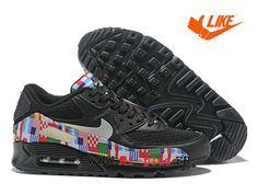 6b678a677740 Nike Air Max 90 Drapeau international Baskets pas chères classiques Homme  Drapeau noir rouge AO5119-