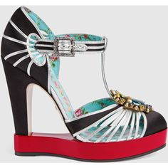 Gucci T-Strap Pump Platform ($1,690) ❤ liked on Polyvore featuring shoes, pumps, metallic silver, red leather pumps, silver metallic pumps, t strap pumps, black platform pumps and black t strap pumps