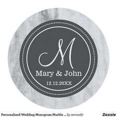 Personalized Wedding Monogram Marble Pattern Round Paper Coaster