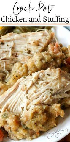 This easy Crock Pot Chicken and stuffing recipe will quickly become one of your favorite family dinners! #chicken #stuffing #crockpot #slowcooker #comfortfood #easy #dinner