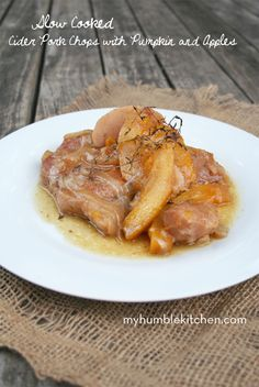 Slow Cooked Cider Pork Chops with Pumpkin and Apples | myhumblekitchen.com
