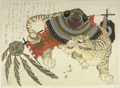 Totoya Hokkei - Tiger Carrying Armor