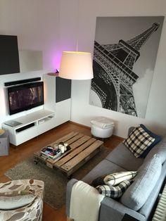 Living Room Shabby Palett Coffeetable Philips Hue Lightning Ikea Karlstad Couch Huge