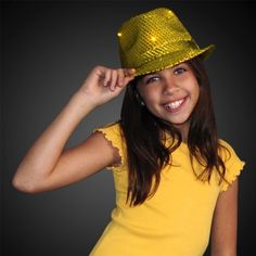 Sequin Gold Fedora Hats with Flashing LEDs and Special Gift with Purchase-  Exclusive FlashingBlinkyLights Light f003ffd98435