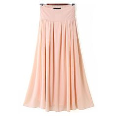 SheIn(sheinside) Pink Elastic Waist Pleated Long Skirt ($16) ❤ liked on Polyvore