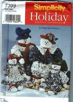 Simplicity Holiday Pattern #7399 Faith Van Zanten Snowmen/Snowwomen #simplicitypattern #snowmenpattern
