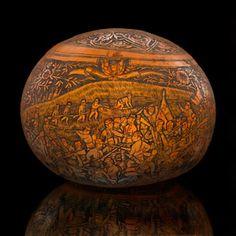 Mariano Flores Kananga γ (Quechua, ca. carved gourd ca. 1925 Ayacucho, Peru Gourd, pigment 17 x 18 cm Egbert P. Peruvian Art, Decorative Gourds, Viking Life, Paul Gauguin, Gourd Art, Native Art, American Indians, Native American, Art Festival