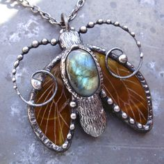 Gold Deep Blue Moth Pendant with Labradorite - Composite Glass on the Wings is Decorated with Engraved Veins - Tinned Metal -Czech