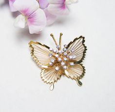 Monet Butterfly Spinneret Brooch Excellent by LorettasCache