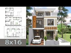 Home Design Plan Duplex House with 3 Bedrooms front, This villa is modeling by SAM-ARCHITECT With 2 stories level. It's has 3 bedrooms. 2 Storey House Design, Duplex House Design, Simple House Design, House Front Design, Modern House Design, Villa Design, Modern House Floor Plans, New House Plans, Small House Plans